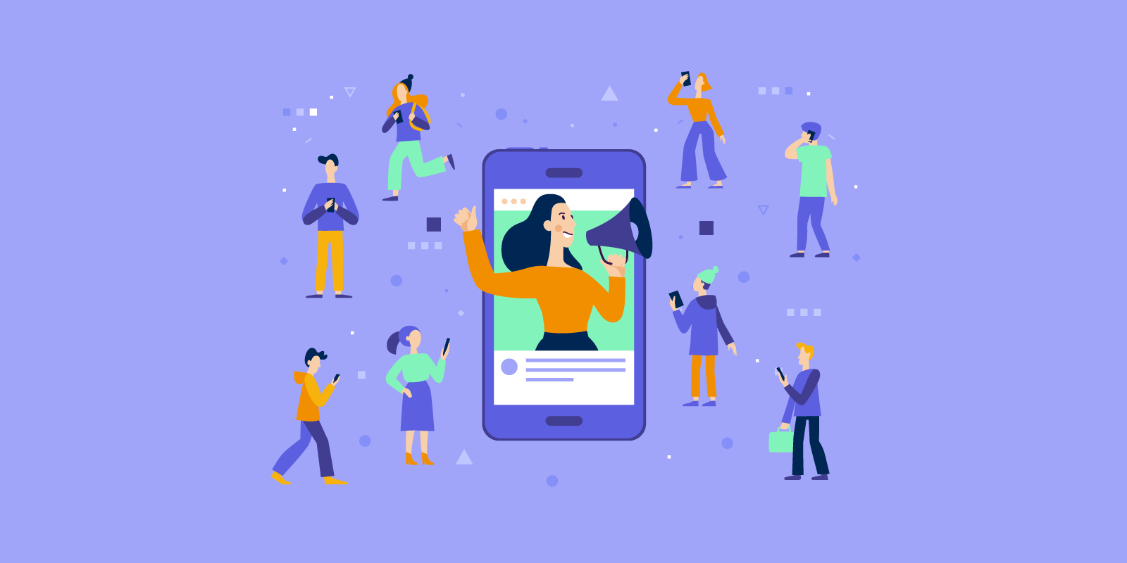 Illustration of woman inside a smart phone using a megaphone with various people looking at their phones.